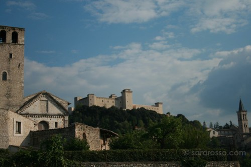 A view of Spoleto - San Ponziano, la Rocca Albornoziana and the Duomo