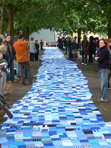 Knitted river at WaterAid march in London