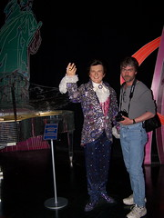 Liberace and his friend at Madame Tussauds