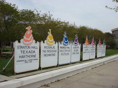 Signs for Natchez Spring Pilgrimage, Natchez MS