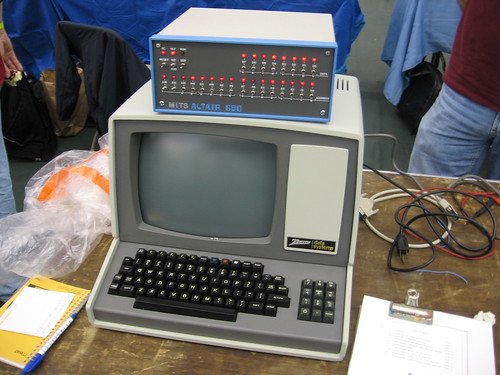 MITS Altair 680 atop vintage Zenith Data Systems computer.