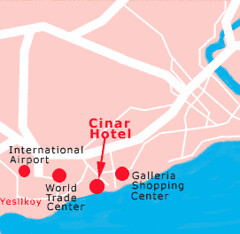 伊斯坦堡齊納爾飯店(Cinar Hotel)位置圖/ Location of Cinar Hotel Istanbul