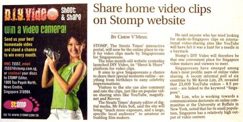 Quoted for Straits Times promo