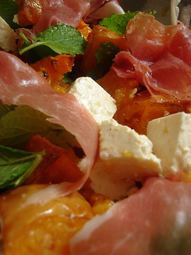 Roasted Butternut Squash , Parma Ham,  Feta Cheese and Mint Salad