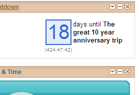 18 days till the Great 10 Year Anniversary Trip