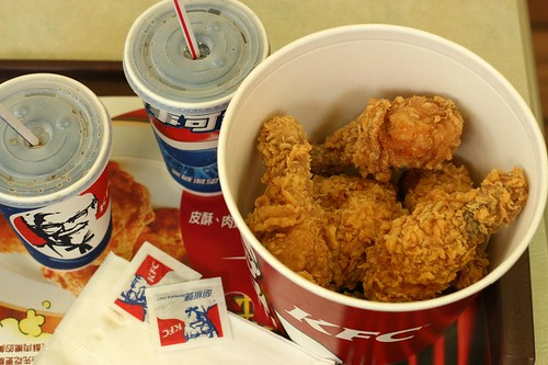 KFC fried chicken and Pepsi