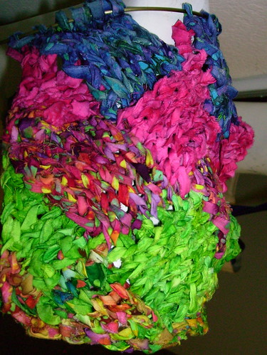 Entrelac Scarf Fabric String progress