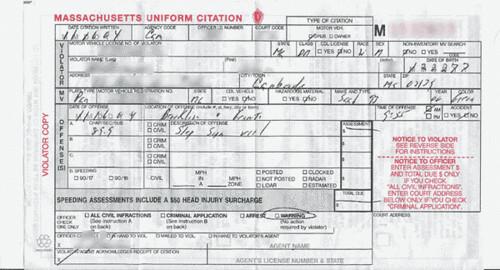 warning ticket