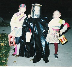 "Dad and ""punk"" girls, halloween [1982?]"