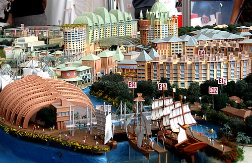 Model of the new Resorts World Sentosa...I believe that this is the Maritime Museum and some of the hotels in the background.
