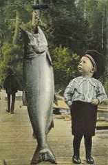 Nice...Boy with Giant Salmon Card by UpNorth Memories - Don Harrison