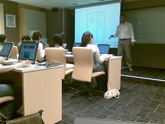 my colleague teaching in a class