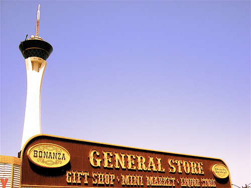 Bonanza Gift Shop Sign, Stratosphere in Background