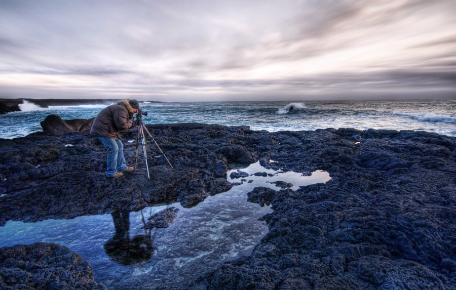 Asmundur at his Craft in Iceland at Sunset