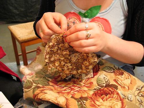 Jo stitching the tortoise shell