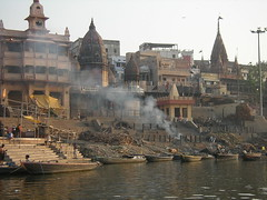 Burning Ghat from Ganga, Varanasi
