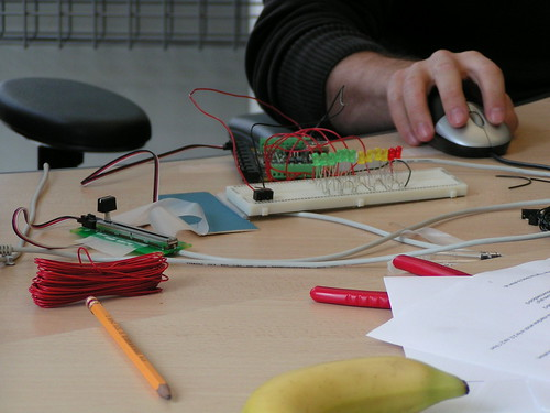 Phidgets board and breadboard by tristanf on flickr