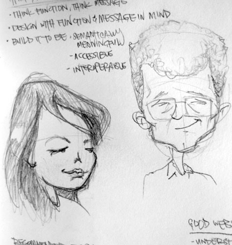 sketch of Virginia and Steph