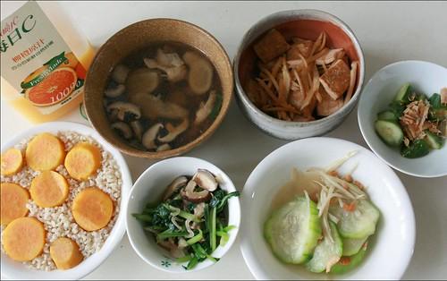 sweet potatoes, orange juice, vegetables, tofu, chicken soup, cucumber