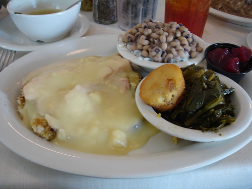 Turkey and Dressing, Collards, Hoppin John at Mary Mac's Tea Room, Atlanta GA