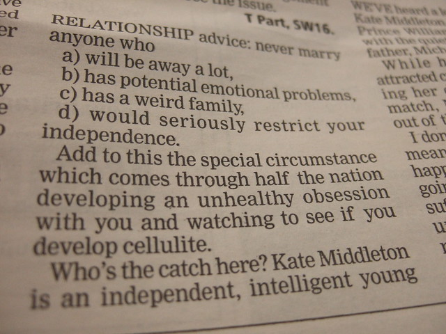 Hmmm...a questionable relationship advice from a newspaper reader