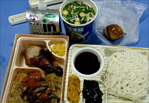 chicken drumstick ice, cold noodles, vitamin drink, tea egg, soup from 7-11