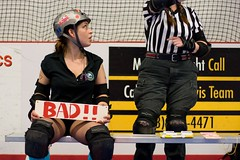 Meatball, in the penalty box, trying to look i...