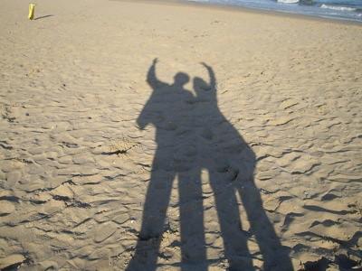 Andrew y yo, nuestras sombras.