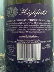 Highfield Sauvignon Blanc 2006 - Rear label