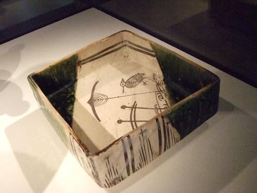 Square Ao-Oribe ware dish 1573-1615 CE Japan Mino region Gifu prefecture
