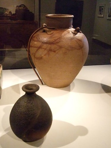 Sake bottle by Fujiwara Yu (1932-2001 CE) Japan Okayama prefecture Bizen ware (unglazed stoneware)