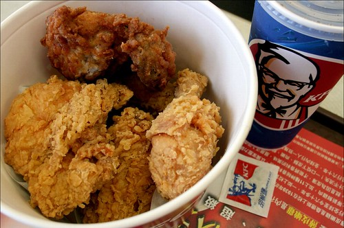 kfc 6-pc chicken bucket and pepsi