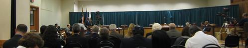 City council meeting in progress inside the Senior Center's multipurpose room