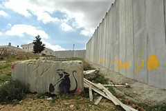 Banksy rat and Wall at Al Quds University, Jer...