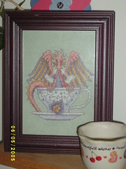 Tempest in a Teacup by TW finished cross stitch