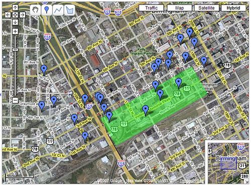 GoogleMap of Birmingham's Entrepreneurial District
