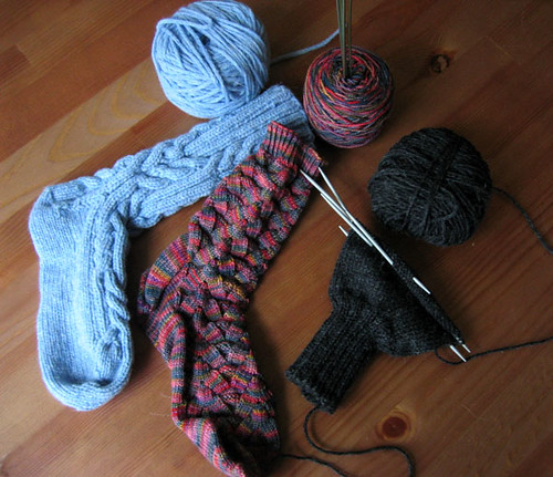 Socks and Mitten WIPs