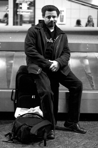 blackandwhite bw selfportrait airport luggage suitcase treadmill mav baggageclaim day240 365days