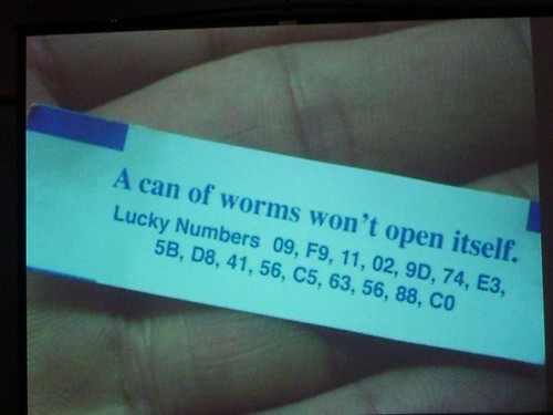 """A can  of worms won't open itself"" from Aaron Gustafson's Flickr  photostream"