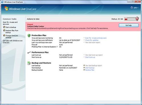 Windows Live OneCare's unhelpful error message