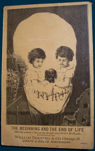 Vintage Ad Card  2 kids and puppy morph to skull by riptheskull.