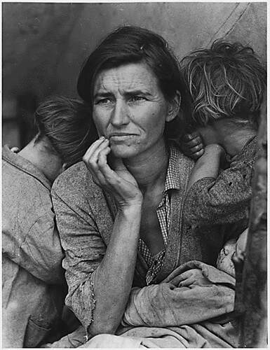 Public Domain: FSA: Destitute Pea-picking Family in Depression by Dorothea Lange (NARA)