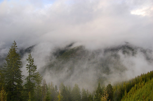 A heavy fog surrounded the mountains when we approached the Idaho/Montana border. I first thought there was forest fire