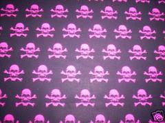pink skulls on black