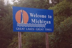 State of Michigan Welcome Sign