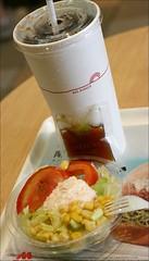 beef rice buger, Coca-cola, salad