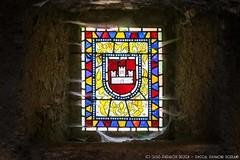 Cobwebbed stained glass Window - Castelnou