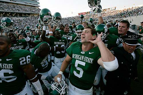 Drew Stanton celebrates as MSU beat Hawaii, 42-14, on September 11.