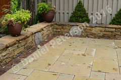 Sandstone-Seating-Wall-wiht-Millstones-Autumn-2015