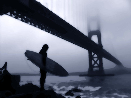 Surfer At Fort Point by Dawn Endico
